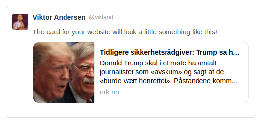 Social share preview image of an article on the Norwegian news site NRK. The image is small and crops half of John Bolton's face out.