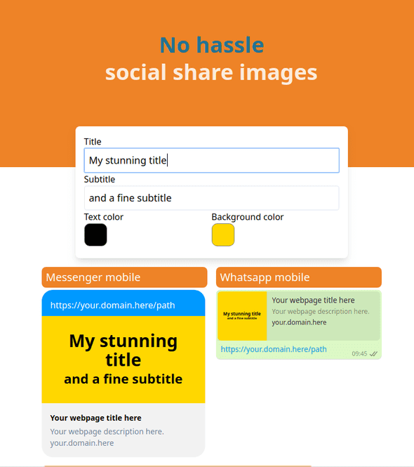 Screenshot of the SaaS Sharizard, which makes it easy to create social share preview images with informative text by simply pasting a url on your site.